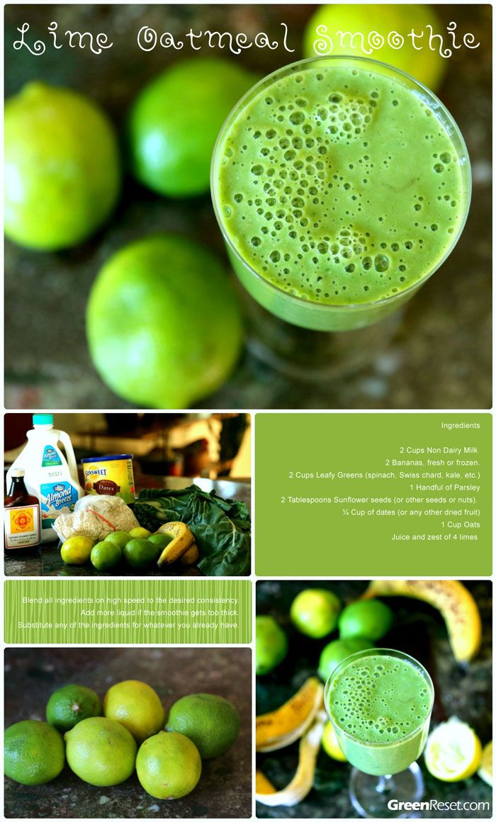 Lime-Oats Green Smoothie: Refreshing & filling #greenreset via http://greenreset.com/lime-oats-green-smoothie/