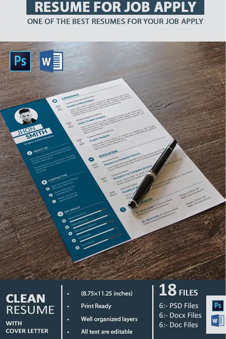 Graphic Designer Resume Template Blue and