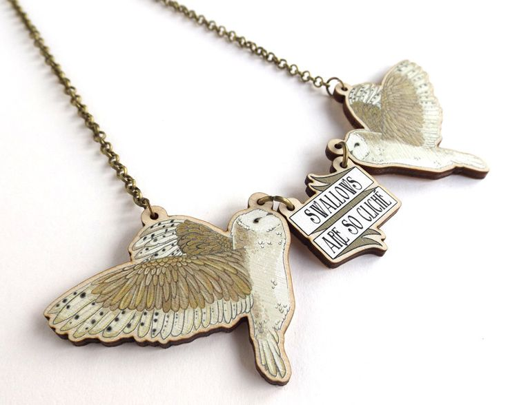 Swallows Are So Cliché! Barn Owl Tattoo Inspired Rockabilly Statement Lasercut Wood Necklace by BakuForestStudios on Etsy https://www.etsy.com/listing/264201658/swallows-are-so-cliche-barn-owl-tattoo