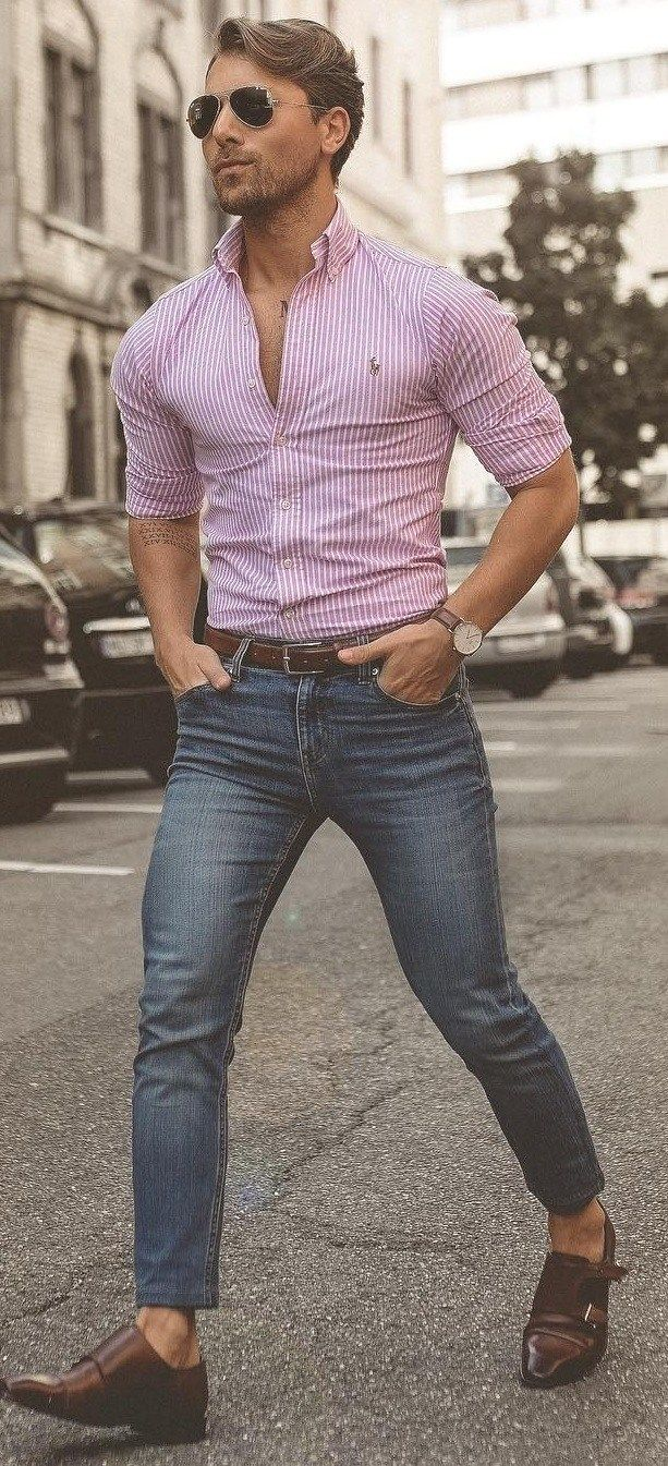 10 Ways To Master Tuck In Shirt Trend This Season Tucked In Shirt Outfit Mens Outfits Mens Fashion Summer [ 1345 x 613 Pixel ]