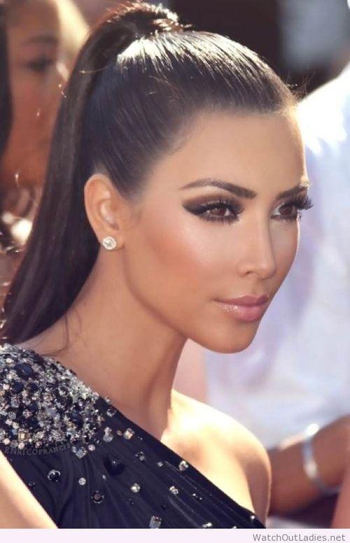 Kim Kardashian ponytail and makeup