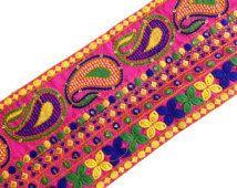 Cutch Embroidery Border in Neon Colors - Wide Border / Lace /  Embroidered Trim /  Sari Lace
