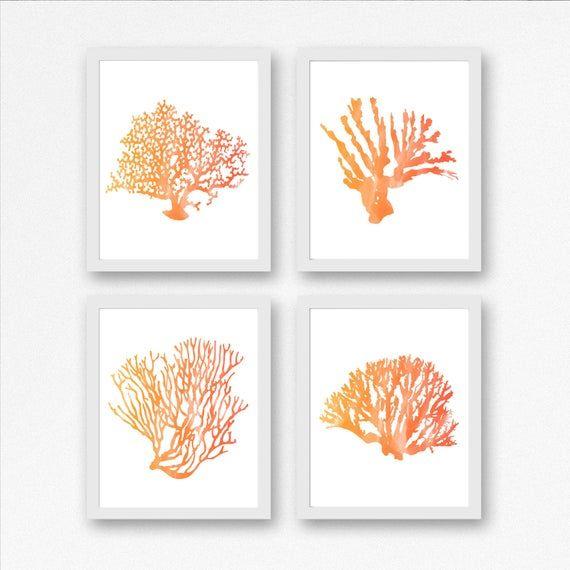 Printable Set Of 4 Sea Coral Wall Art Watercolor Sealife Bathroom Nursery Office Prints Summ Coral Wall Art Office Wall Art Watercolor Sea