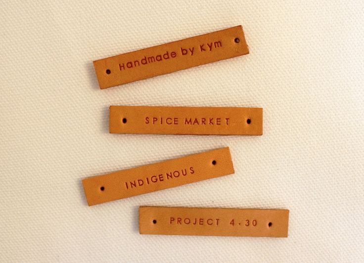 25 custom leather labels - personalized - embossing effect (VEG-TAN COLOR)