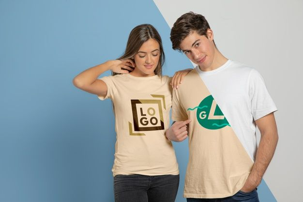 Download Download Front View Of Couple Posing In T Shirts For Free Wholesale Shirts Personalized T Shirts Print T Shirt