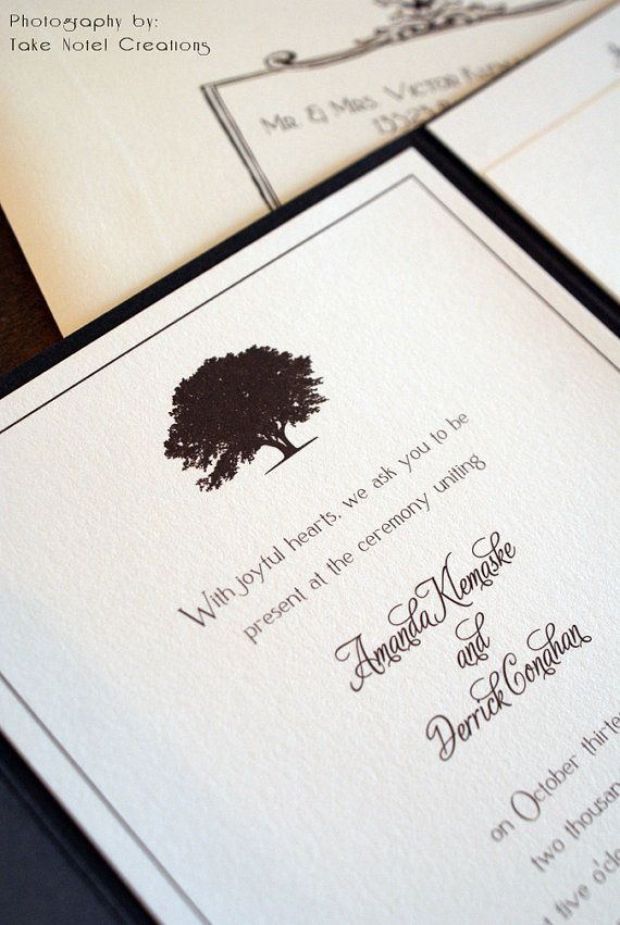 Oak Tree Wedding Invitations by Take Note! Creations - vintage & rustic design captures the simple elegance of your special day.