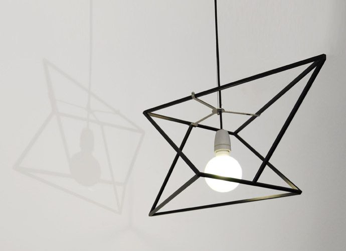 The peculiar shape of this suspension lamp respects geometrical symmetry and proportion. It is a clear homage to the Italian Renaissance and in particular to Leonardo da Vinci, considering his high level achievements both in scientific field and artistic. Changing angle the lamp reveals different geometrical configurations and creates magical effects of form and light.
