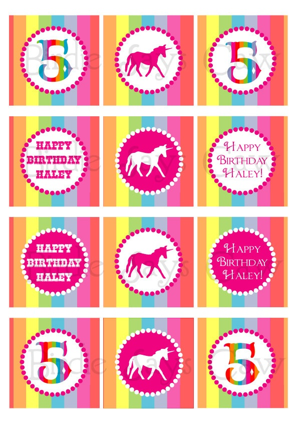 Printable Custom Rainbow Unicorn Party Circles (cupcake toppers, favor tags). $8.00, via Etsy.