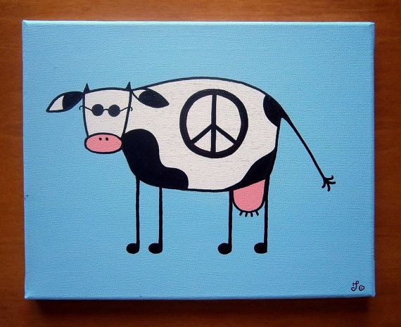 John Lennon Cow ~ Acrylic painting on canvas by MadCowzArt on Etsy, €14.00  Cow Art