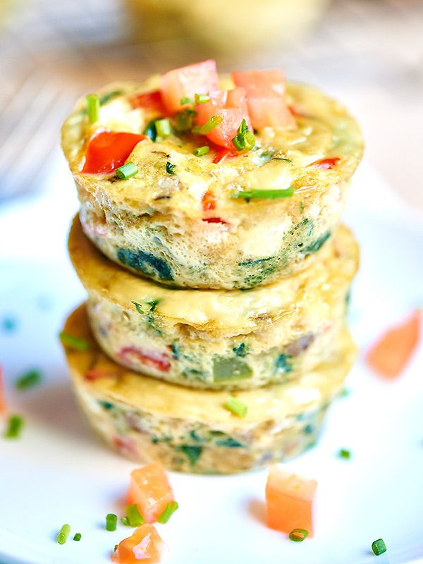I love that these healthy egg muffin cups can be made in advance. These muffin cups have less than 50 calories per muffin and are packed with vegetables!