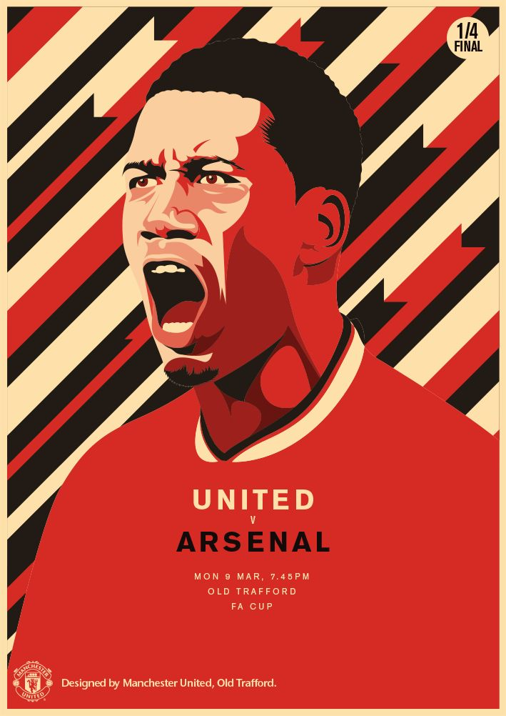 Match poster. Manchester United vs Arsenal. 9 March 2015. Designed by @manutd.