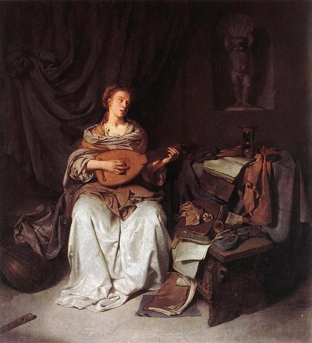 Бега Корнелис Питерс (Bega, Begga, 1620-1664) - Женщина, играющая на лютне (1664-1665, Galleria degli Uffizi, Florence, Italy)