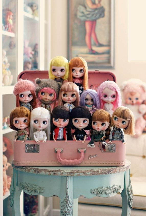My Blythe Family 2015 by voo_doolady Via Flickr: Many girls have left and new ones have arrived, but some will always remain ;) FROM LEFT TO RIGHT: Top Row: Boise (Erica Fustero), Kenny (K07doll)...
