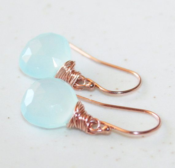 Romantic Rose and Blue Drop Earrings, 14K Rose Gold-filled, Faceted Chalcedony, Wire Wrapped Jewelry, Dangle Gemstone Earrings
