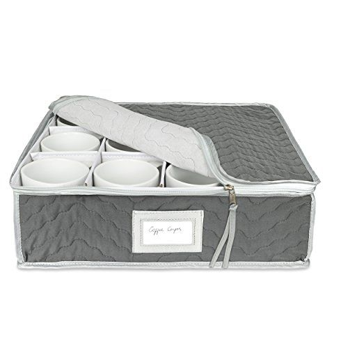 China Cup Storage Chest  Quilted Fabric Container in Gray Measuring 155 x 13 x 5H  Perfect Storage Case for Coffee Cups  Tea Cups  Mugs