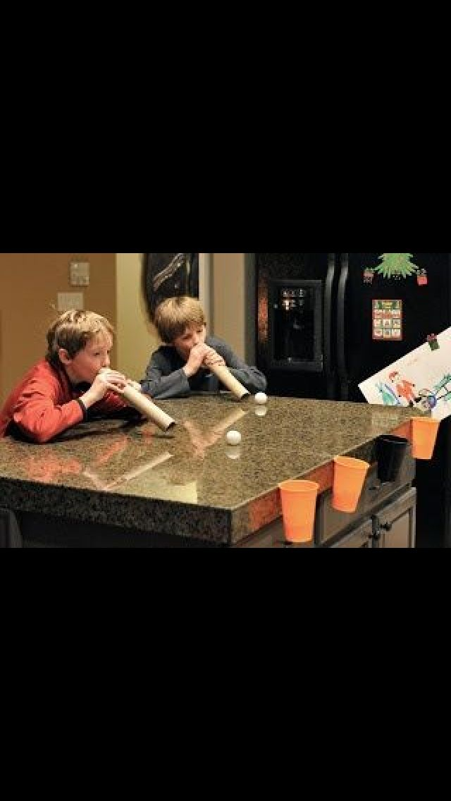 Use ping long balls, solo cup and paper towel roll for a fun game