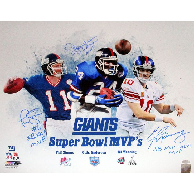 New York Giants SB MVP 16x20 Unframe Collage Signed (Eli Manning Phil Simms OJ Anderson) w SB MVPт€™s Insc. - Eli Manning Phil Simms & OJ Anderson Autographed Steiner Authenticated Super Bowl MVP 16x20 Unframed Collage Inscribed Superbowl MVPs & Stats-New York Giants legends Eli Manning OJ Anderson and Phil Simms have personally hand-signed and inscribed this Limited Edition Steiner Authenticated Super Bowl MVP 16x20 Collage. Over their careers each of these New York Giant greats have won an