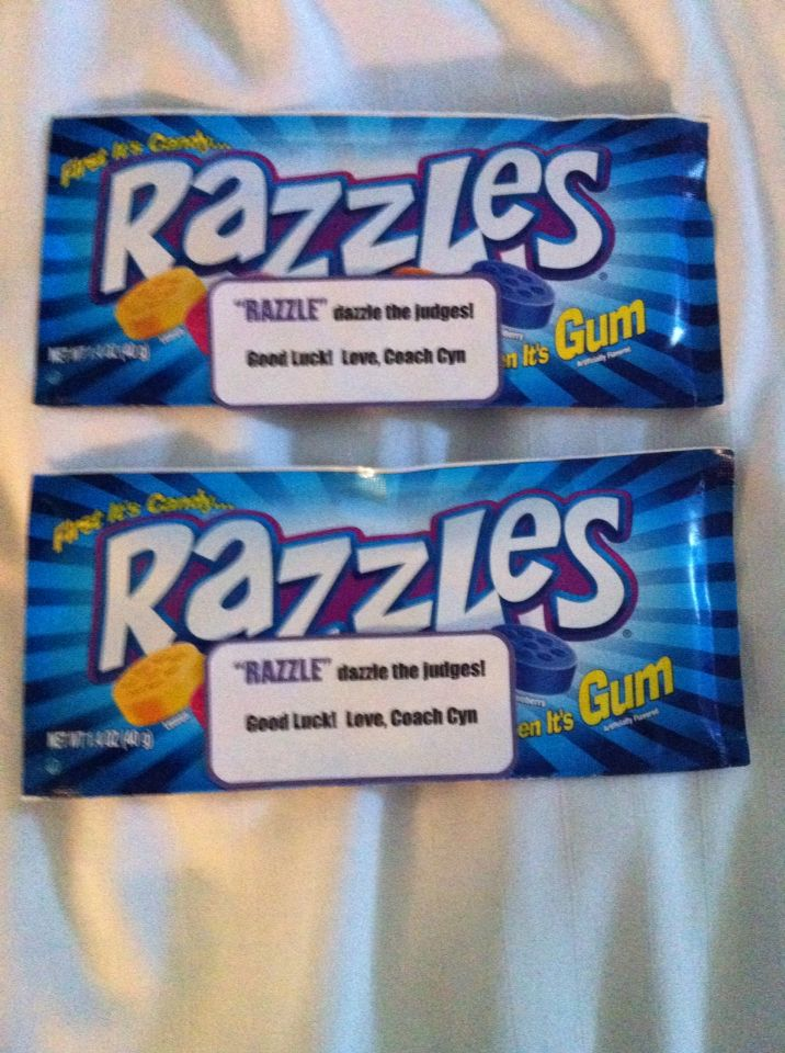 """Motivational gift, cheer candy, inspirational, cheerleading, team gift, coaches gifts, """"RAZZLE dazzle the judges"""", candy sayings, candy grams, DIY, cheer gram, competition good luck gift, cheer treat"""