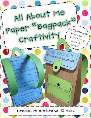 "Beginning of the school year project:  All about me paper ""bagpack"" craftivity.  This blogger says she's going to have her 1st graders made the bags and use them for back to school night.  $3.00"