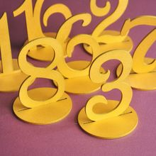 10 Unids Boda Rústica Mesa de Oro Números de Números de la Tabla De Madera de La Boda Centro de Mesa de Oro(China (Mainland))