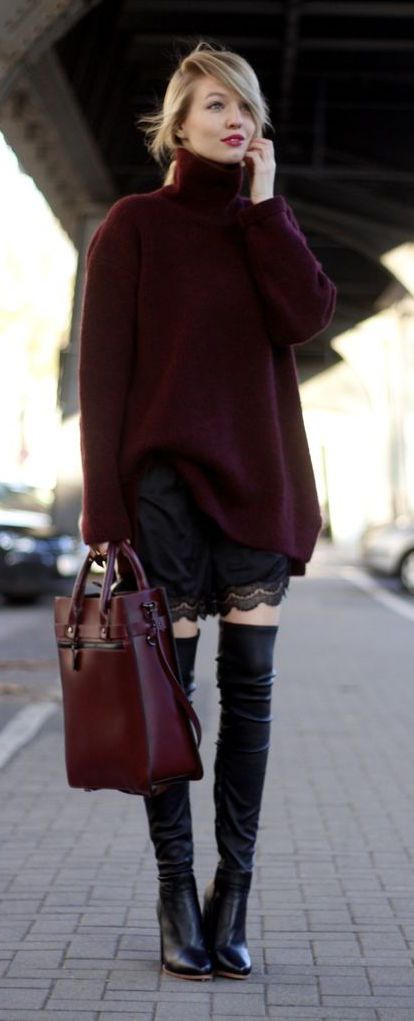 #fall #fashion / burgundy turtleneck knit