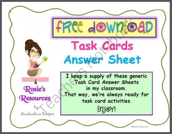 Task Cards Generic Answer Sheet Free Download product from ...