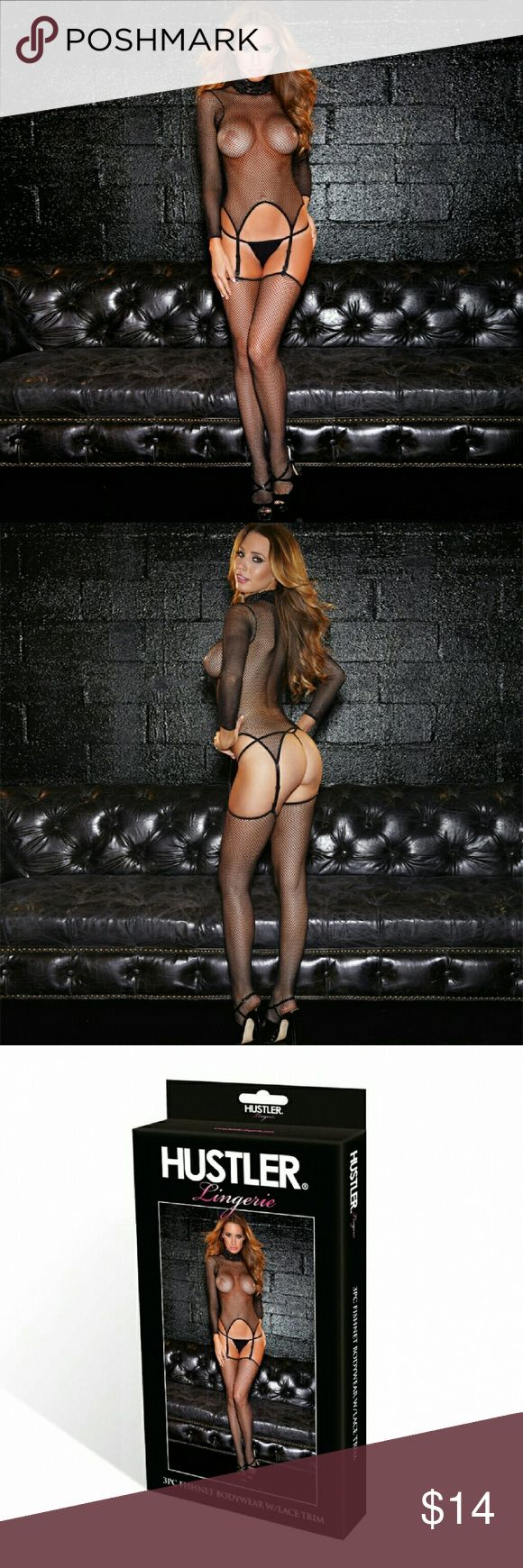 Hustler Lingeries 3PC Fishnet Bodysuit W/Lace Trim This 3pc set with lace trim outfit is the perfect for a wild night. Featuring an alluring fishnet pattern and lace , this set includes sexy garter a d thigh highs. ONE SIZE FIT MOST  (fit up to size 10) 90% Nylon 10% Spandex Hustler Lingeries  Intimates & Sleepwear