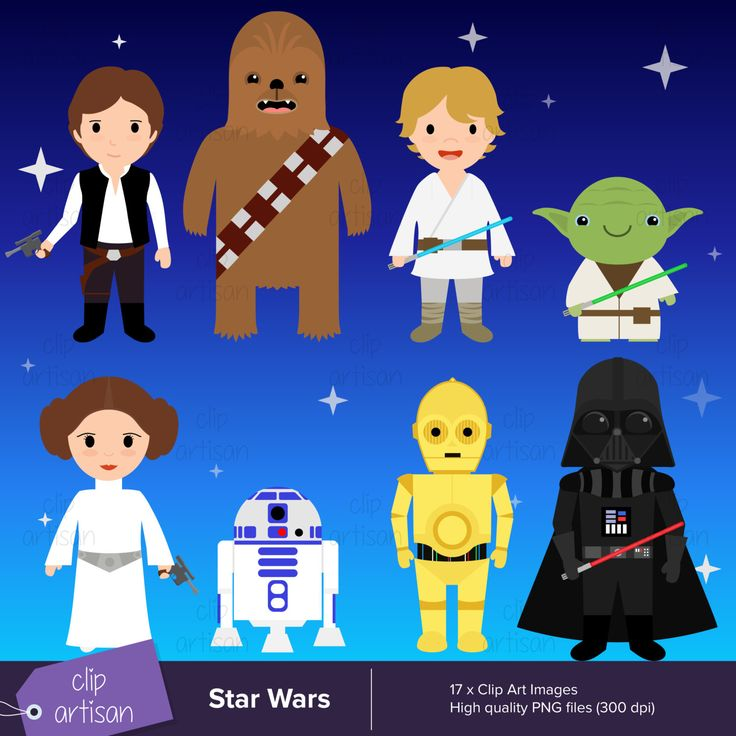 Star Wars Clipart / PNG / Yoda, Darth Vader, Han Solo, Luke, Leia, Chewbacca, R2D2, C3PO by ClipArtisan on Etsy https://www.etsy.com/listing/259024594/star-wars-clipart-png-yoda-darth-vader