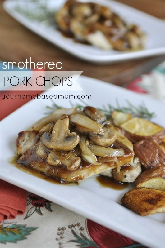 Smothered Pork Chops -- will be using a different broth though.  Campbells is so salty!