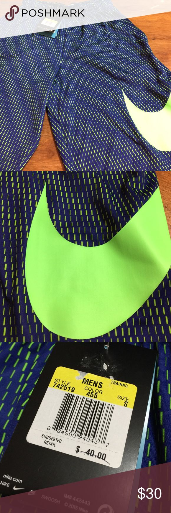 Nwt men's small Nike basketball shorts Nwt men's small Nike basketball shorts. Royal blue and neon green. Nike Shorts Athletic