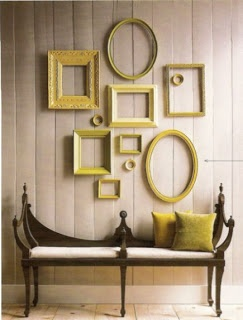 Gorgeous! Love these empty frames tossed on the wall... feeling #Anthropologie #walldecor #emptyframes