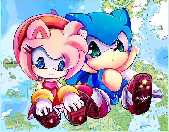 Sonic and Amy. (Aww, they look like plushies)