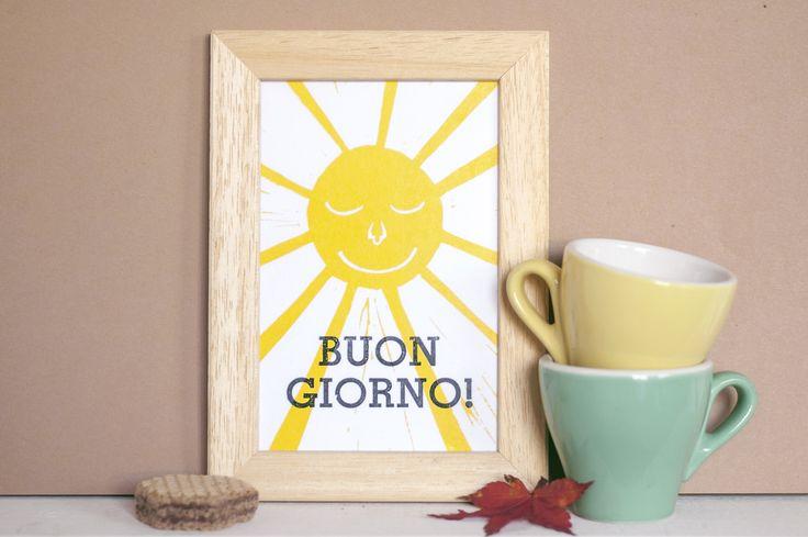 Buon Giorno!, Stampa tipografica 13x18 cm con cornice, edizione limitata   Good Morning!, Letterpress print 13x18 cm, : Cameretta bambino, bebè di abicidi