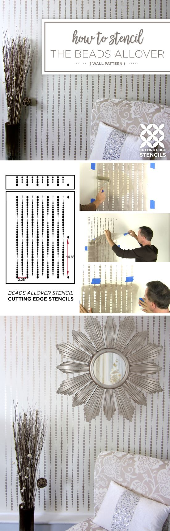 Cutting Edge Stencils shares a stencil tutorial showing how to paint an accent wall using a geometric wallpaper pattern, the Beads Allover Stencil.  http://www.cuttingedgestencils.com/beads-wall-stencil-pattern.html