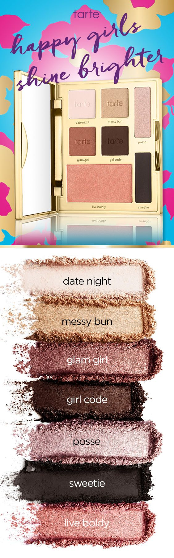 #Swatches of our NEW limited-edition happy girls shine brighter eye & cheek palette! An eyeshadow and blush palette with six cool-toned shadows and a longwearing blush.  #tartecosmetics #tarteDDB