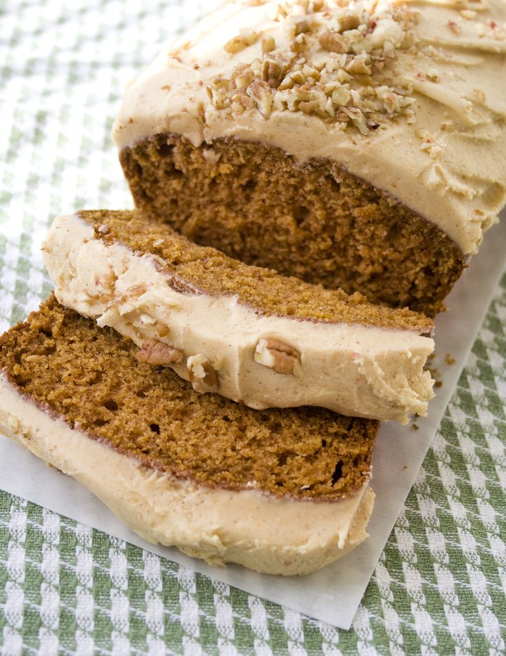 Pumpkin Bread with Pumpkin Buttercream... Love pumpkin bread, may have to try the frosting this fall.