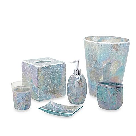 this luxurious collection of crackled glass pastel colored accessories adds a sleek modern look to your bath space these exquisite pieces provide the