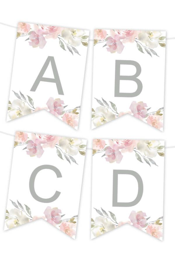 pink floral printable banner 1st birthday party ideas pinterest