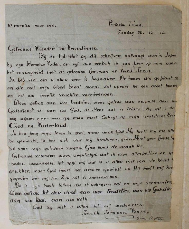 Afskrif van Jopie Fourie se laaste brief voor hy terreggestel is.