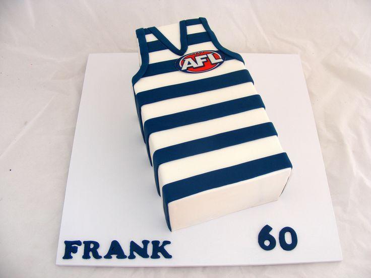 2D Geelong Football Jersey Cake by My Cake Place http://www.mycakeplace.com.au/ https://www.facebook.com/MyCakePlace