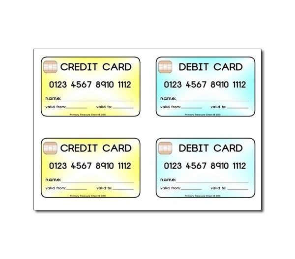 Not Found Kids Credit Card Debit Card Design Dramatic Play Printables