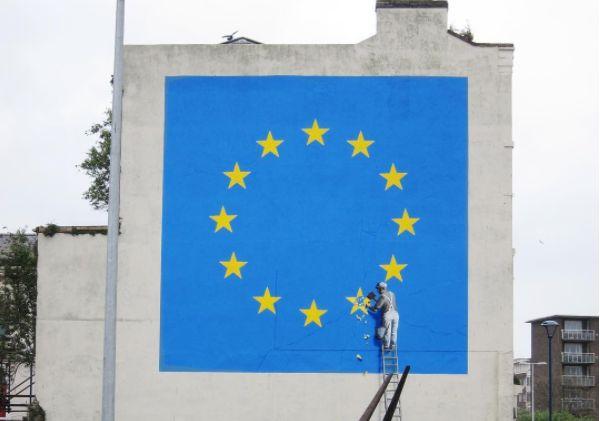 The mural by Bansky appeared overnight in Dover. Photo via Banksy's Instagram.