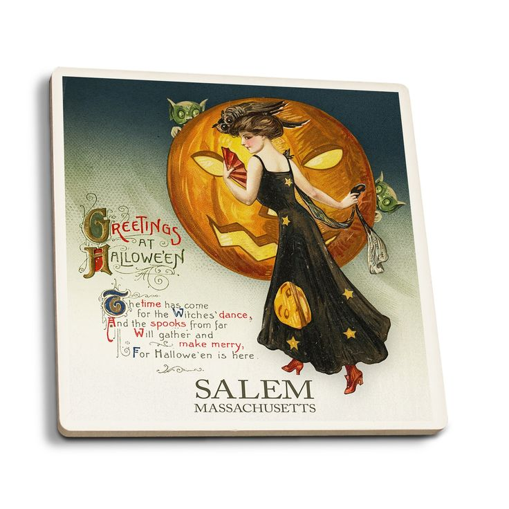 Salem MA - Halloween Witch Dance - Vintage Artwork (Set of 4 Ceramic Coasters)