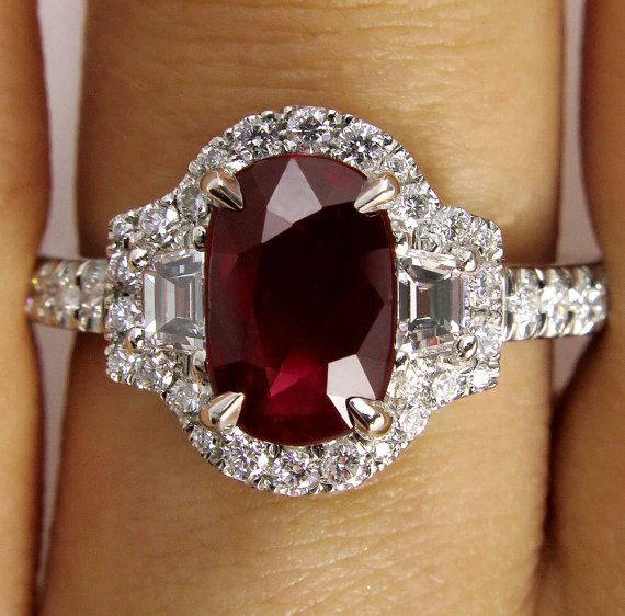 "GIA ""NO HEAT"" 3.27ct Estate Vintage Pigeon Blood Red Cushion Oval Ruby and Diamond Halo Pave Ring in Platinum"