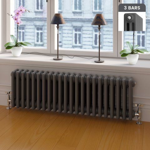 300x1008mm Anthracite Triple Panel Horizontal Colosseum Radiator - Roma Premium