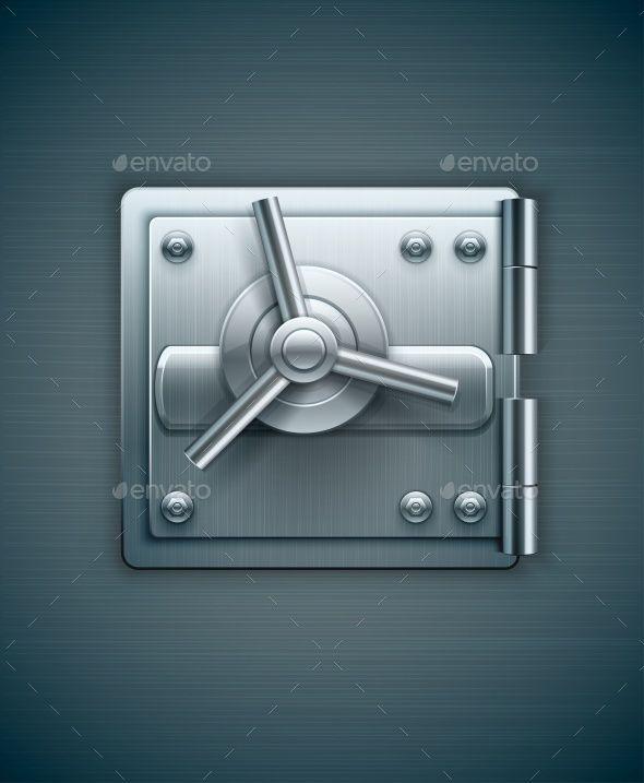 Metallic Door of Bank Safe for Money