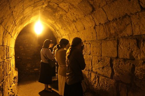 Jewish women praying in an underground part of the wailing wall, that ...