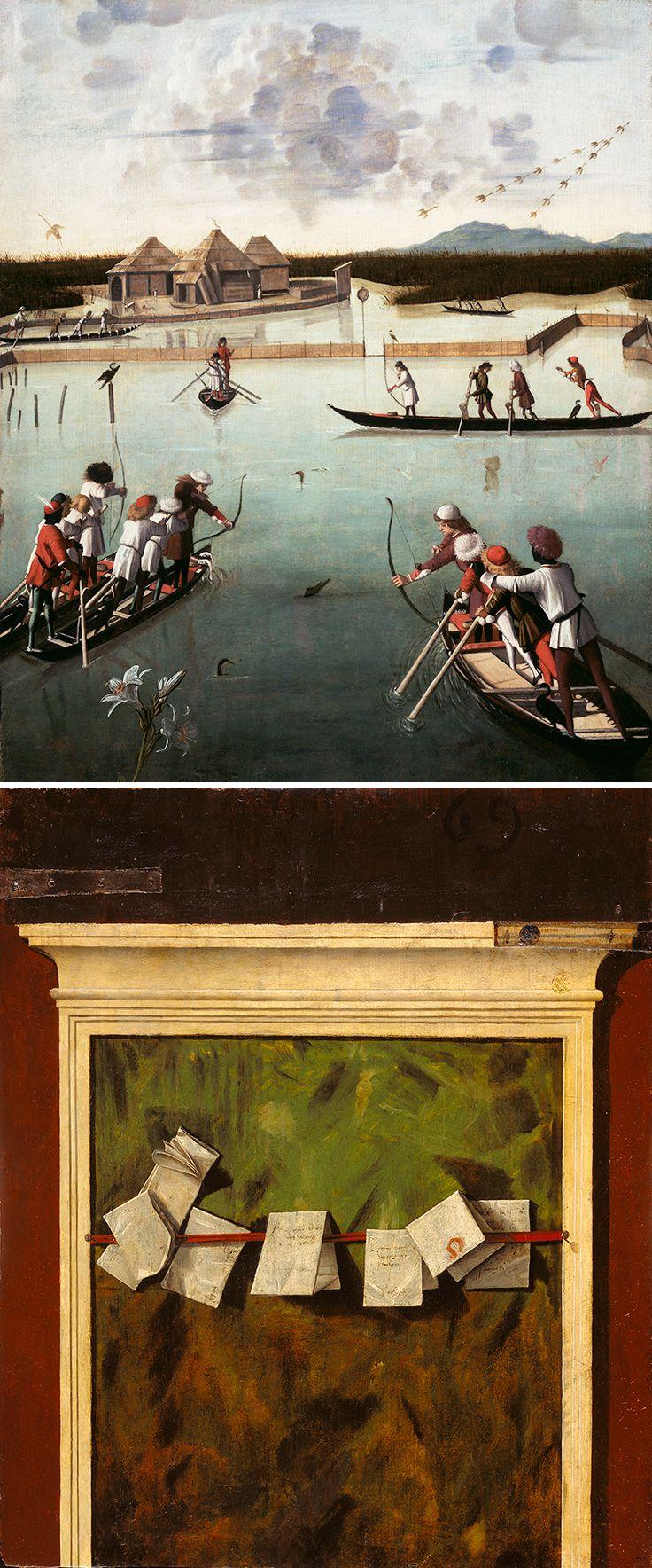 Hunting on the Lagoon (recto), Letter Rack (verso), Vittore Carpaccio, 1490-95