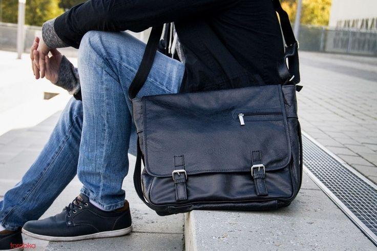 Skórzana torba męska na ramię w stylu casual. Sklep jakatorebka.pl