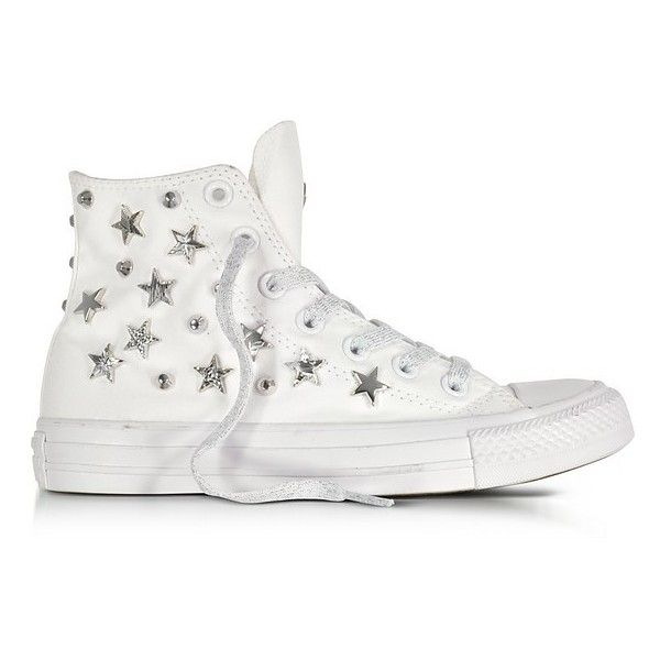 Converse Limited Edition Shoes Chuck Taylor All Star Hi White Sneakers... ($155) ❤ liked on Polyvore featuring shoes, sneakers, white, converse shoes, converse high tops, white high-top sneakers, canvas sneakers and white canvas sneakers
